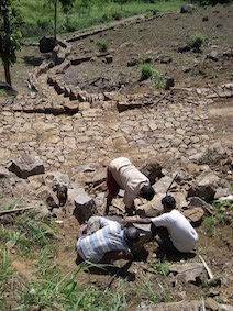 Building of paths, roads and drainage ditches